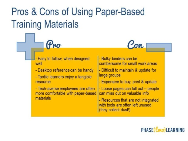 pros and cons of using paper-based training materials