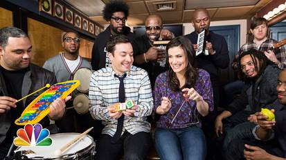 jimmy fallon idina menzel the roots band classroom instruments