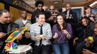 jimmy fallon idina menzel the roots band classroom instruments